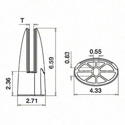 Prindere punctuala in pardoseala, G=13.52 mm ,inox satinat