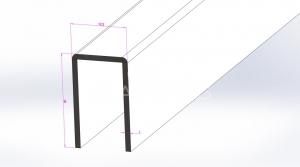 Profil U perete cabina dus inox lucios L=3000mm