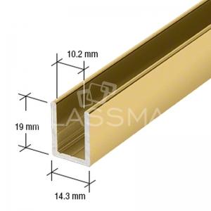Profil perimetral U cabina dus, finisaj lucios auriu