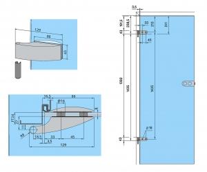 Set Arcos Studio broasca pentru baie + 2 balamale usa sticla 8 mm