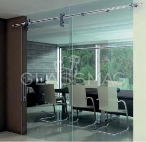 Set usa glisanta Manet Compact Dorma, fixare sticla cu supralumina si un panou lateral fix, cap cu disc, L=1200mm