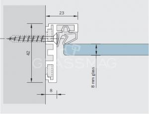 Profil toc usa AT 23 Dorma, L=5500 mm