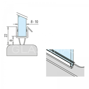 Garnitura 2 benzi perete-sticla 8-10mm, L=2500 mm