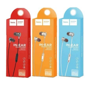 HANDSFREE HOCO M16 SOUND METAL UNIVERSAL EARPHONES, BLACK