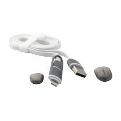USB Cablu 2in1 Micro USB/iPHONE 5/6 Alb