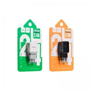 INCARCATOR PRIZA HOCO C33A DUAL USB 2.4A, WHITE