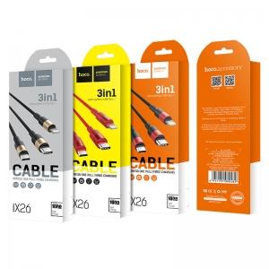 CABLU HOCO X26 XPRESS 3 IN 1 CHARGING (LIGHTNING-MICRO USB-TYPE C), BLACK-GOLD