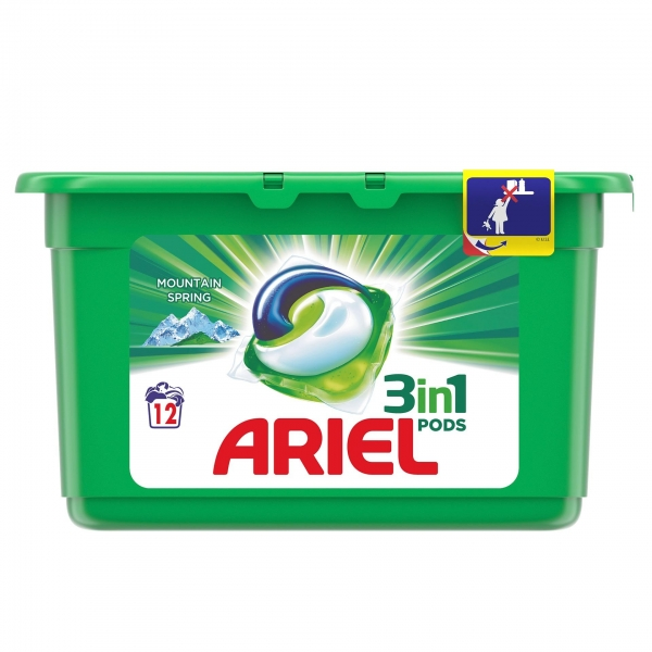 Ariel Detergent Capsule 3in1 PODS, 12 buc, Mountain Spring 0