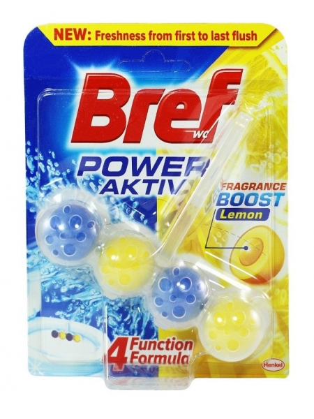 Bref Odorizant WC cu bile, 50 g, Power Activ Lemon 0