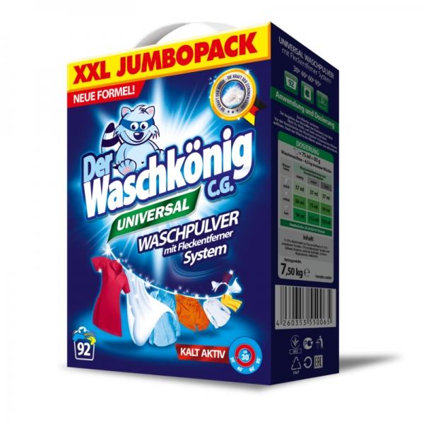 Der Waschkönig C.G. Detergent universal, 7.5 kg, 92 spalari, Universal 0