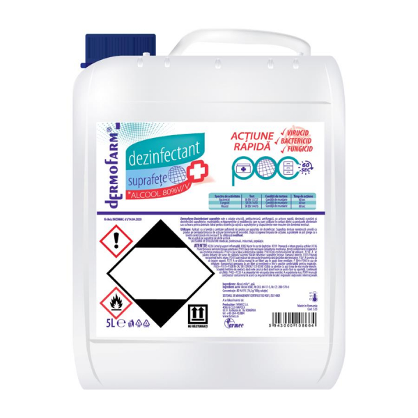 Dermofarm Dezinfectant suprafete cu Alcool 80 percent, 5 L 0