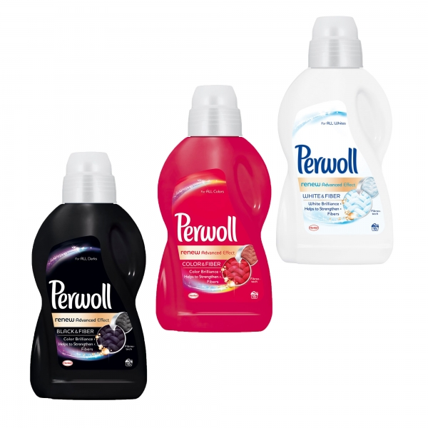 Pachet promo 3 x Perwoll Detergent lichid, 900 ml, 15 spalari, Renew Advanced Black & White & Color 0