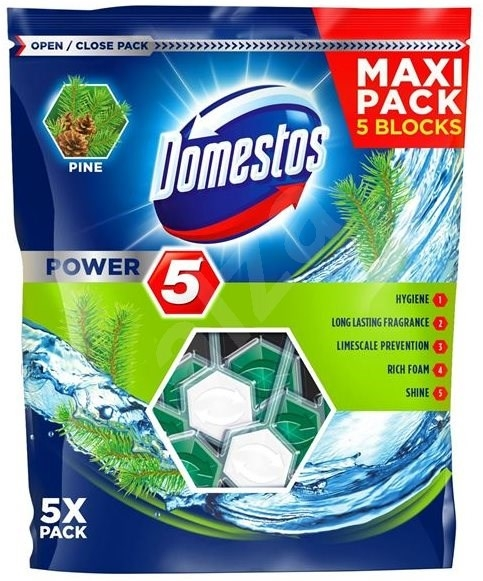 Domestos Odorizant WC cu bile, 5 x 55 g, Power 5 Pine 0