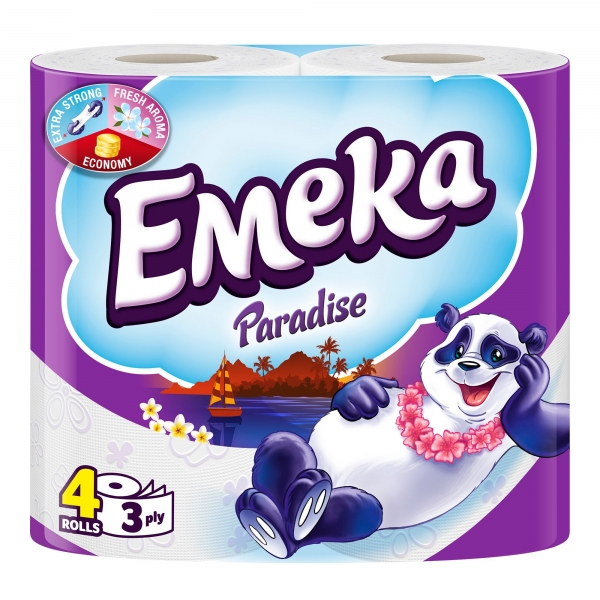 Emeka Paradise Hartie igienica, 3 straturi, 4 role 0