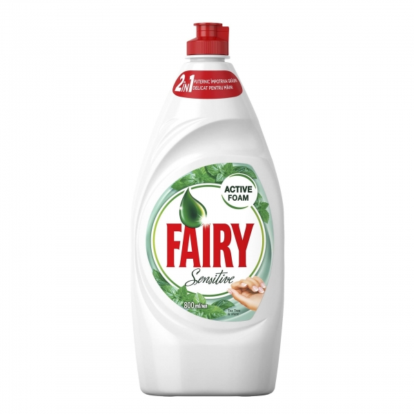 Fairy Detergent pentru vase, 800 ml, Sensitive Tea Tree and Mint 0