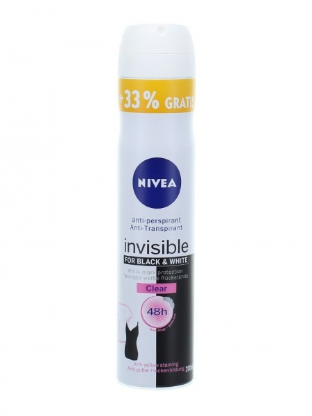 Nivea Deodorant spray, Femei, 200 ml, Invisible for Black & White, Clear 0