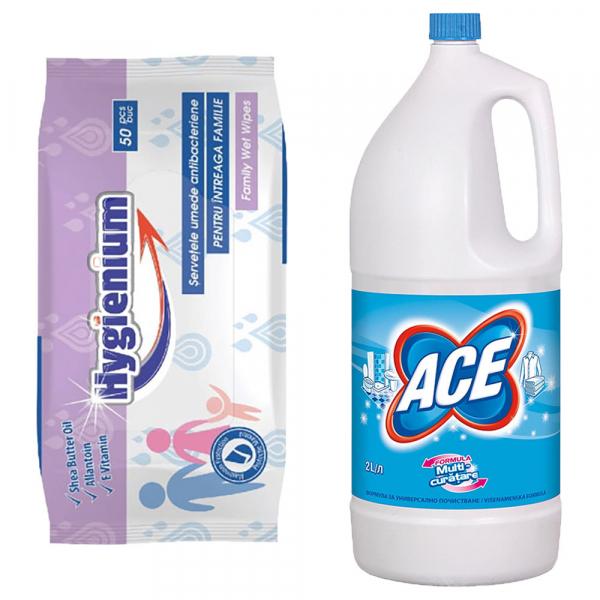 Pachet promo Hygienium Servetele umede antibacteriene, 50 buc + Ace Inalbitor, 2 L, Regular 0