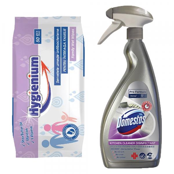Pachet promo Hygienium Servetele umede antibacteriene, 50 buc + Domestos Dezinfectant bucatarie, 750 ml, Pro Formula 0