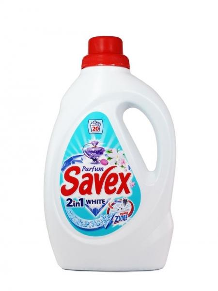 Savex Detergent lichid, 1.3 L, 20 spalari, 2in1 White Powerzyme 0
