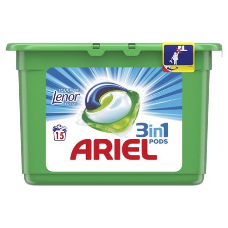 Ariel Detergent Capsule 3in1 PODS, 15 buc, Touch of Lenor Fresh 0