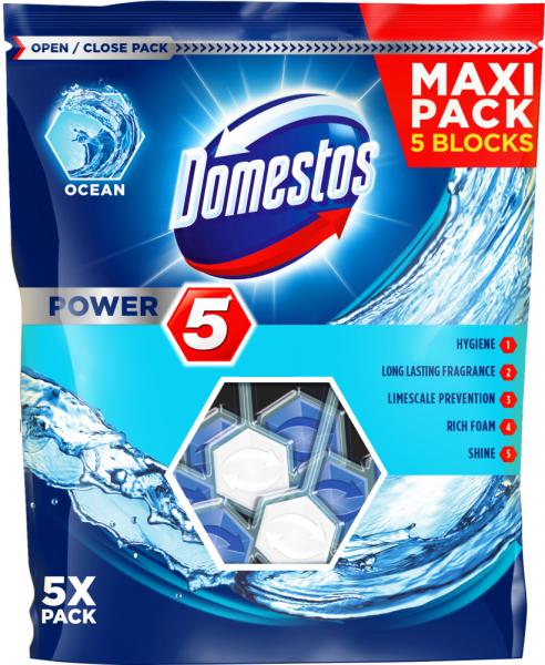 Domestos Odorizant WC cu bile, 5 x 55 g, Power 5 Ocean 0