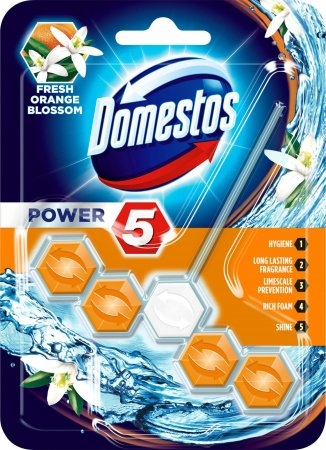 Domestos Odorizant WC cu bile, 55 g, Power 5 Fresh Orange Blossom 0
