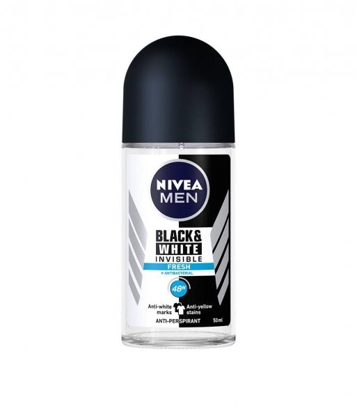 Nivea Deodorant Roll-on, Barbati, 50 ml, Invisible Black and White Fresh 0
