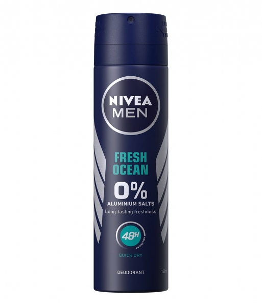 Nivea Deodorant spray, Barbati, 150 ml, Fresh Ocean - 0 percent Aluminium Salts 0