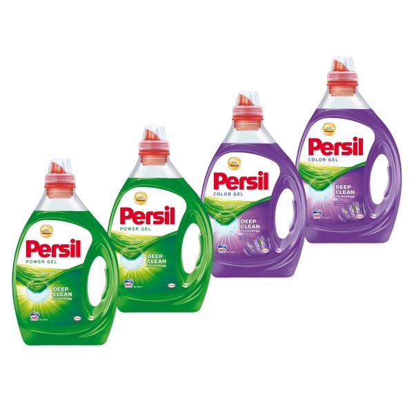 Pachet promo 4 x Persil Detergent lichid, 2L, 40 spalari, Power Gel & Color Gel Lavender 0