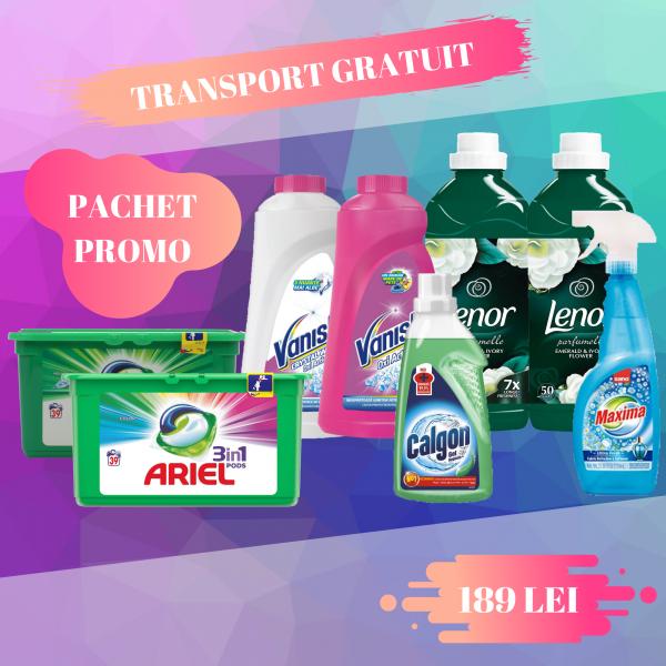 Pachet promo Ariel PODS, Lenor, Sano, Vanish, Calgon 0