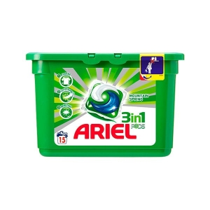 Ariel Detergent Capsule 3in1 PODS, 15 buc, Mountain Spring