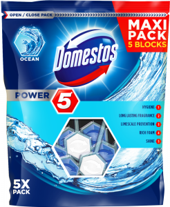 Domestos Odorizant WC cu bile, 5 x 55 g, Power 5 Ocean
