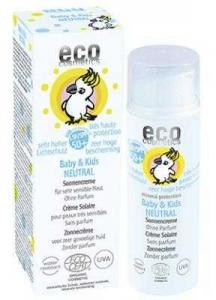 Crema bio protectie solara bebe si copii FPS50 , piele foarte sensibila, FARA PARFUM - Eco Cosmetics