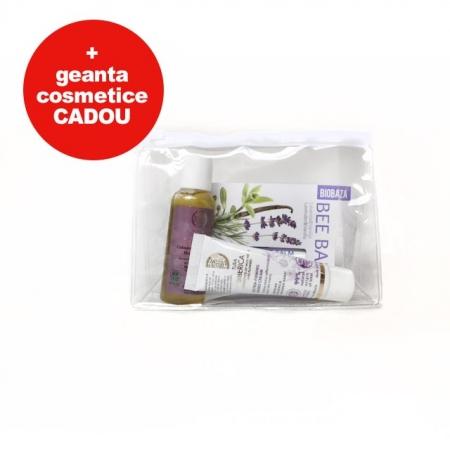 Set cosmetice cu gentuta cosmetice cadou (sampon, crema de maini, balsam de buze Lavanda)