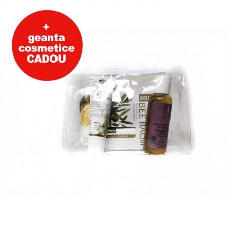 Set cosmetice cu gentuta cosmetice cadou (sampon, crema de maini, balsam de buze Grapefruit)