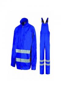 Costum salopeta cu benzi reflectorizante, albastru