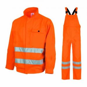 Costum salopeta cu benzi reflectorizante, portocaliu