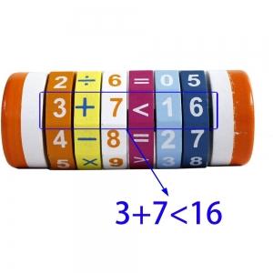 Cilindru Cub din lemn Puzzle Aritmetic  Onshine4