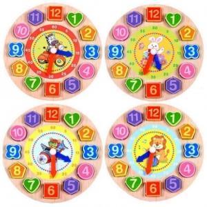 Ceas din lemn 2 in 1 pentru copii -  Ceas lemn cu forme geometrice1