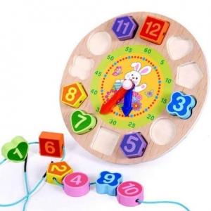 Ceas din lemn 2 in 1 pentru copii -  Ceas lemn cu forme geometrice0