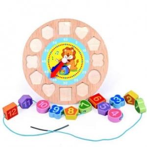 Ceas din lemn 2 in 1 pentru copii -  Ceas lemn cu forme geometrice2