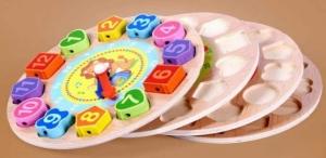 Ceas din lemn 2 in 1 pentru copii -  Ceas lemn cu forme geometrice3