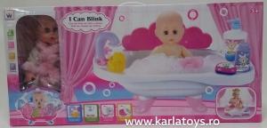 Papusa bebelus  cu cadita si accesorii Bath1