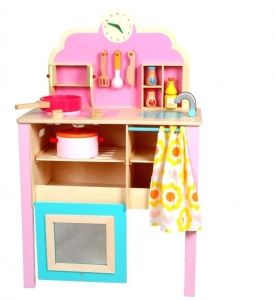 Bucatarie de jucarie de lemn Pink Kitchen0