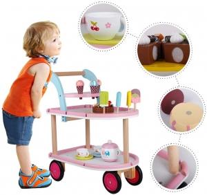 Carucior inghetata din lemn cu accesorii copii - Masuta cu roti desert din lemn3