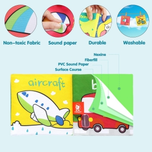 Set 6 carti bebelusi senzoriale - Prima mea carte material textil Top Bright2
