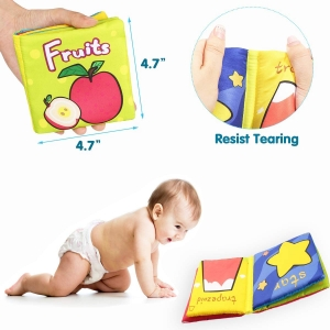 Set 6 carti bebelusi senzoriale - Prima mea carte material textil Top Bright4