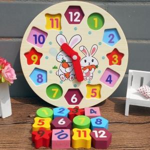 Ceas din lemn 2 in 1 pentru copii -  Ceas lemn cu forme geometrice8