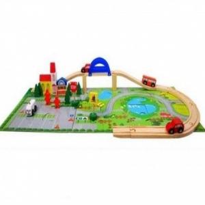 Circuit  din lemn cu masinute din lemn si covoras puzzle0