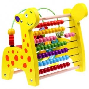 Jucarie educativa 3 in 1 Girafa( Abac cu bile)Elefantel - Leu0